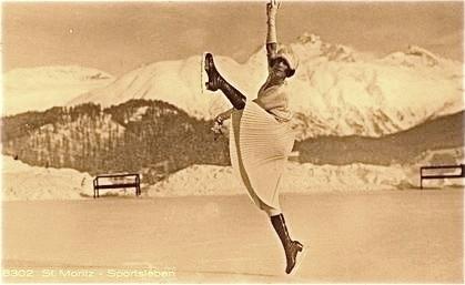 Eiskunstläuferin St. Moritz, 1920er-Jahre.