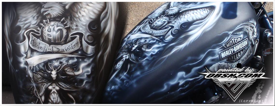 """Black Pearl""- Projekt auf Harley Sportster, Freihand Airbrush Technik, Matt-Klarlack"