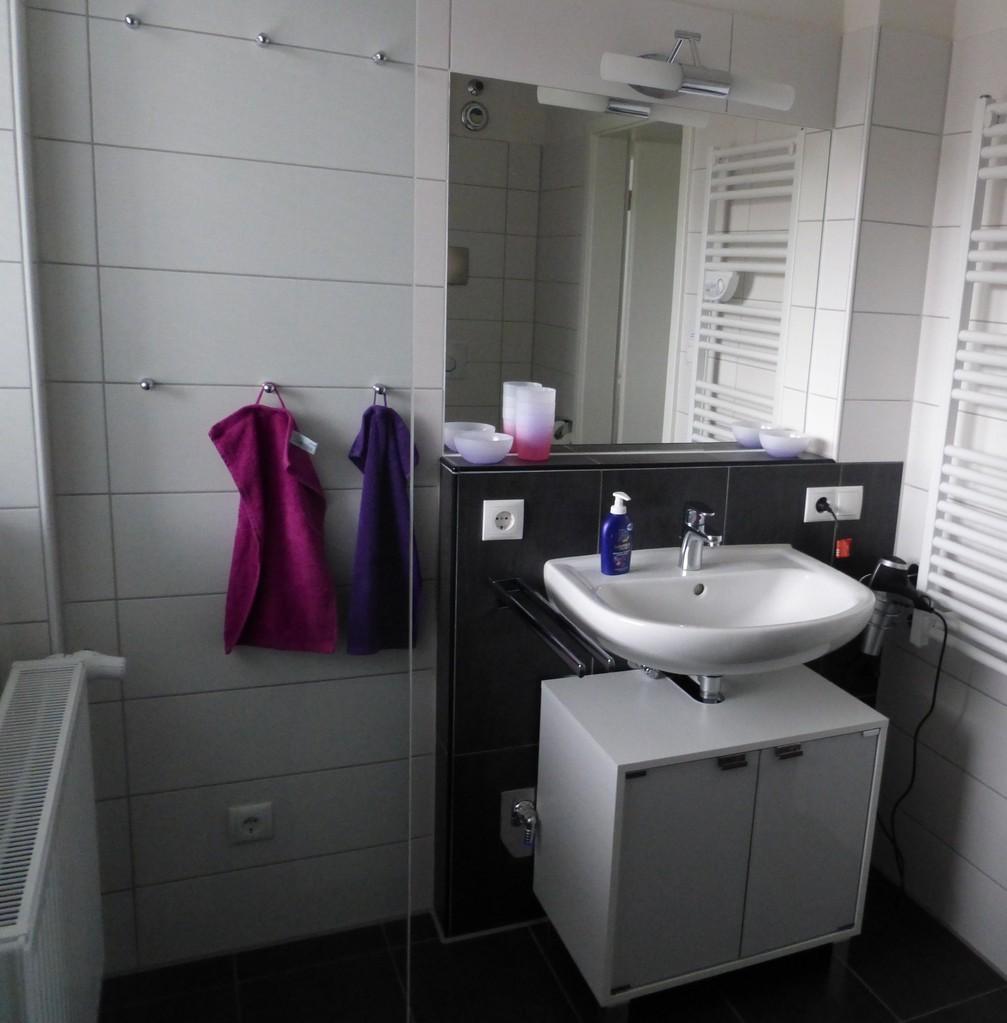 Waschbecken, Handtuchtrockner und Föhn