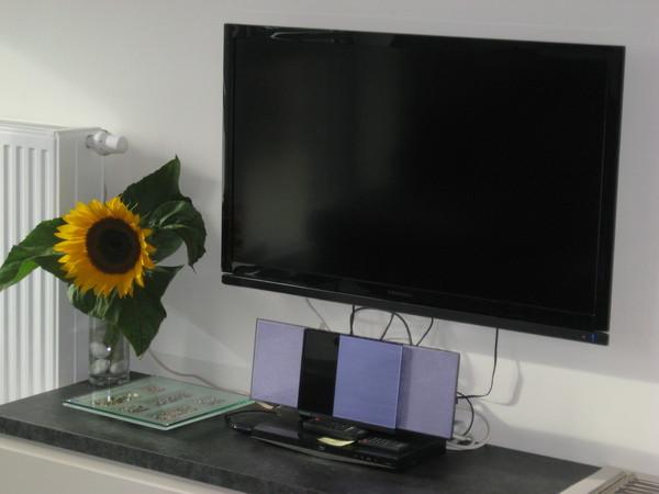 Der Fernseher empfängt die üblichen Programme. (Sat) Radio mit CD,MP3,DVD-Spieler