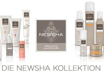 Die Newsha Pflegeserie: verschiedene Tuben und Flacons der professionellen Haarpflegeserie