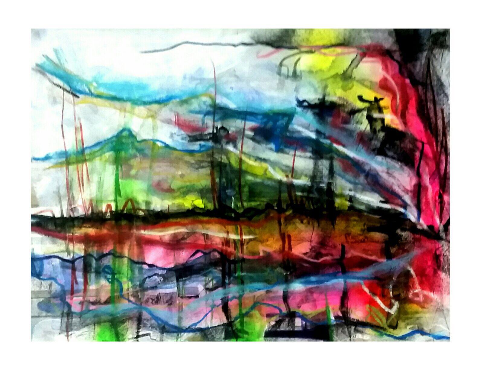 H8051217 Waterkant, afm. 20x28 cm. Materiaal aquarel krijt en acrylverf - Rob Koenders