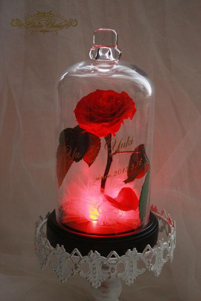 美女と野獣 薔薇 光る LED ガラスドーム 魔法 プリザーブドフラワー プレゼント ディズニー
