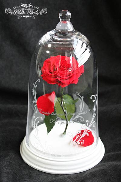 プロポーズ  一輪のバラのガラスドーム アレンジ ホワイトベースorder no 180110