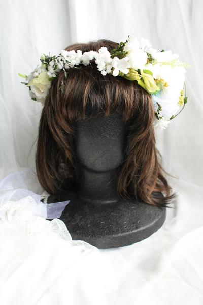 花冠 ウェディング 結婚式 オーダー ホワイト&グリーン 薔薇 レース リボン カスミ草
