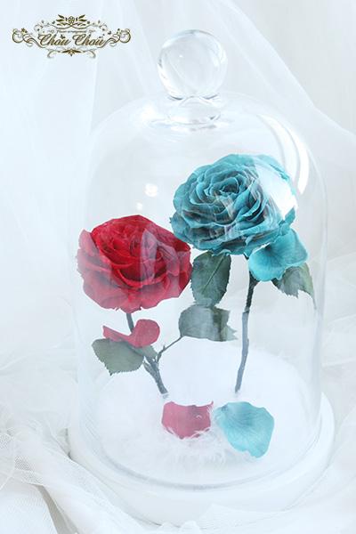 プロポーズ 2輪の薔薇のガラスドーム アレンジ Lサイズ  order no 2017135