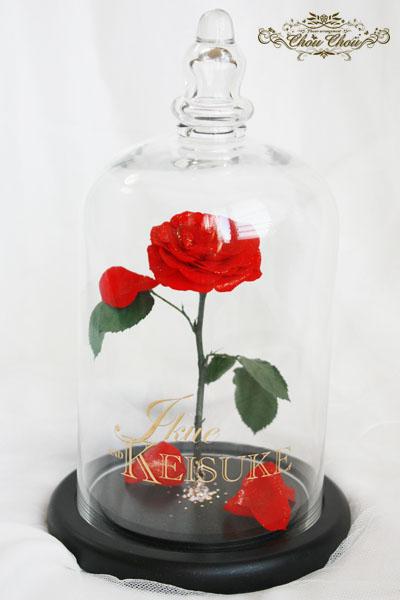 美女と野獣 薔薇 ガラスドーム ウェディング 結婚式 装花 リングピロー スワロフスキー