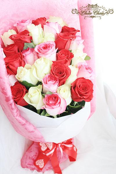 バラの花束(生花)&一輪のバラのガラスドーム アレンジ(プリザーブドフラワー) order no 181110
