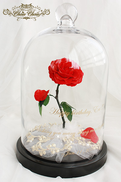 誕生日の贈り物 一輪の薔薇のガラスドーム アレンジ order no 201746