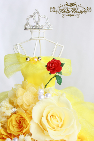美女と野獣 ベル ドレス 薔薇  ディズニープロポーズ ミラコスタ ティアラ オーダー 花屋