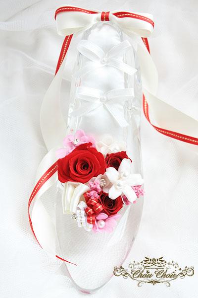 ディズニー プロポーズ ダズンローズ  ガラスの靴 プリザーブドフラワー シュシュ リングピロー ミラコスタ 配達 オーダーフラワー