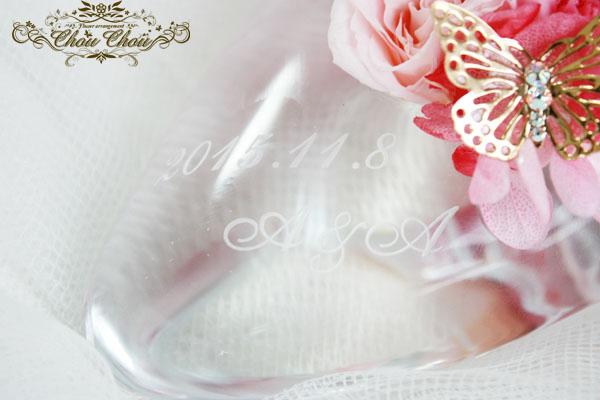 ガラスの靴 ディズニー プロポーズ ウェディング リングピロー  花 オーダー 刻印 バタフライ