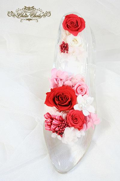 ディズニー プロポーズ ガラスの靴 プロポーズリング プリザーブドフラワー フラワーリング  ミラコスタ 配達 花屋 chouchou