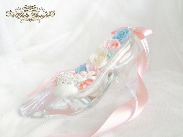 ガラスの靴 ディズニー プロポーズ ミラコスタ ティアラ プリザーブドフラワー ミッキー 花屋 ChouChou 舞浜