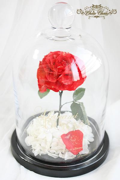 プロポーズ 一輪の薔薇のガラスドーム アレンジMサイズ   order no 2017130