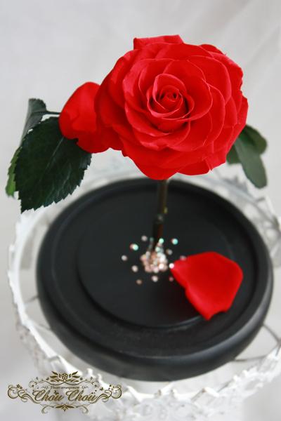 プロポーズ 美女と野獣 一輪の薔薇 ガラスドーム プリザーブドフラワー スワロフスキー