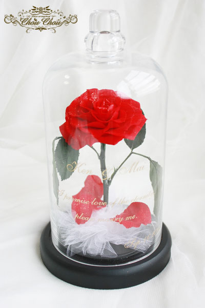 ディズニー プロポーズ 美女と野獣 一輪の薔薇 ガラスドーム 花屋 舞浜 配達