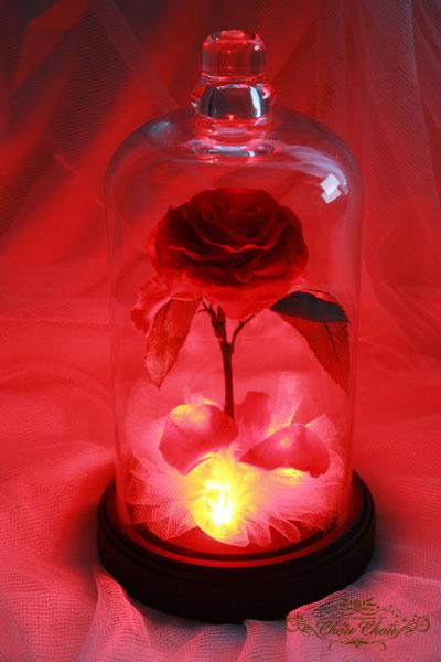 美女と野獣 薔薇 ガラスドーム プロポーズ ウェディング 光る LED プリザーブドフラワー