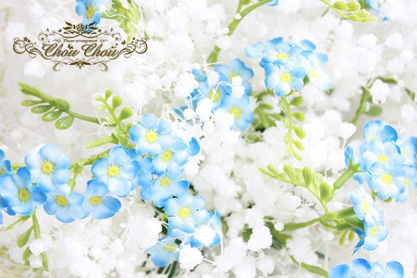プロポーズ サプライズ 花束 ワスレナグサ かすみ草 プリザーブドフラワー 造花 オーダーフラワー  シュシュ 舞浜花屋 ミラコスタ