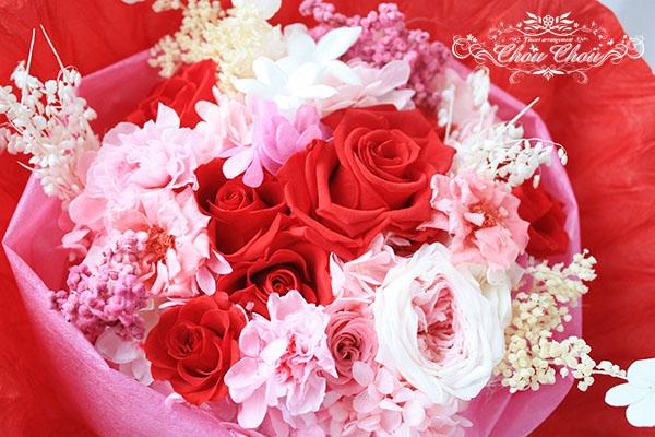 ディズニー プロポーズ  赤バラ プリザーブドフラワー 花束 ミラコスタ オーダーフラワー シュシュ chouchou