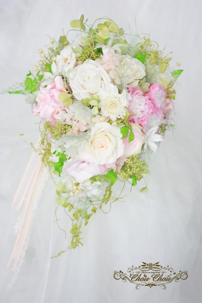 ウェディング 結婚式 ブーケ プリザーブドフラワー ティアドロップ セミキャスケード ナチュラル グリーン ホワイト ピンク