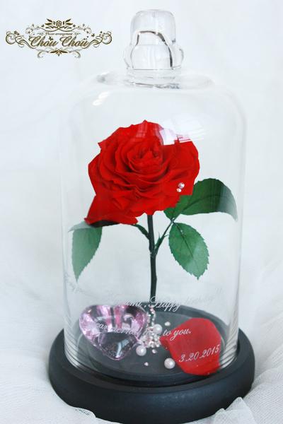 美女と野獣 薔薇 ガラスドーム リングホルダー プロポーズ ウェディング