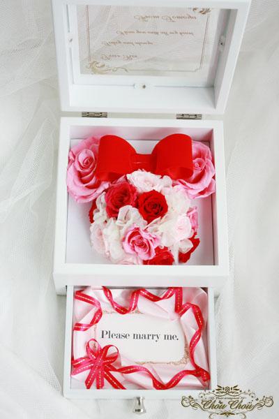 プロポーズ エンゲージリング リングケース リングホルダー ジュエリーボックス 薔薇 ミニー オーダーフラワー プリザーブドフラワー