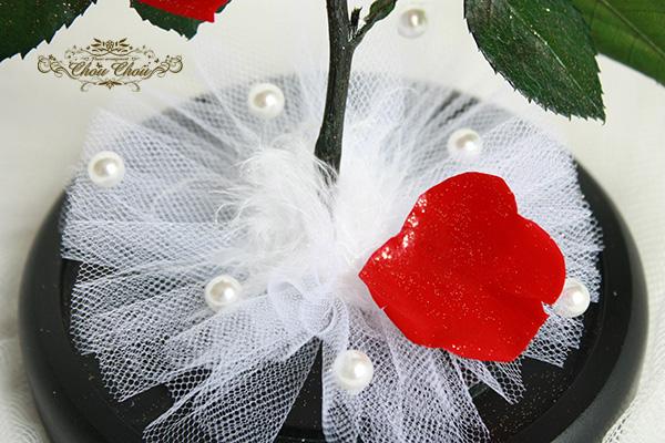 ディズニー  プロポーズ 美女と野獣 一輪のバラ ガラスドーム  プリザーブドフラワー セレブレーションホテル オーダーフラワー  シュシュ 舞浜花屋