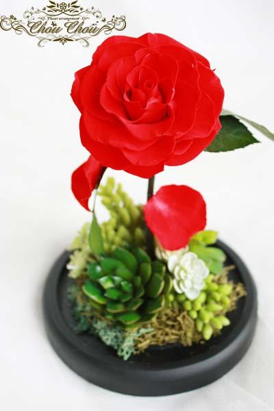 プロポーズ 美女と野獣 一輪の薔薇 ガラスドーム 多肉 グリーン オーダーフラワー chouchou シュシュ