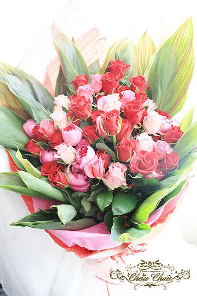 ピンク&赤薔薇の豪華な花束 order no 180601