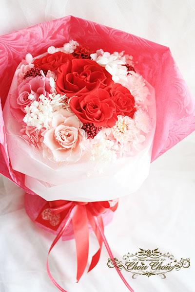 プロポーズ 優しく上品なイメージのプリザーブドフラワーの花束      order no 181211