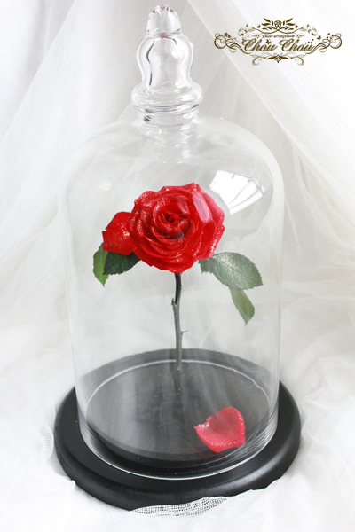 美女と野獣 バラ ガラスドーム プリザーブドフラワー ウェディング 結婚式