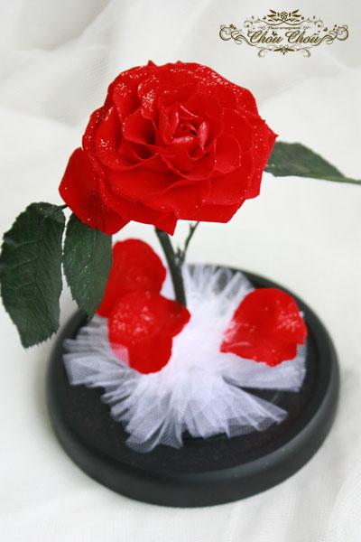 美女と野獣 一輪の薔薇 ガラスドーム プリザーブドフラワー 販売