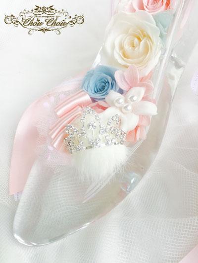 ディズニー プロポーズ ガラスの靴 ミラコスタ プリザーブドフラワー ティアラ プリンセス シンデレラ オーダーフラワー ChouChou シュシュ