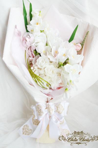 花束 フリージア 白薔薇 造花 プリザーブドフラワー 上品 花屋 舞浜 ディズニー 浦安