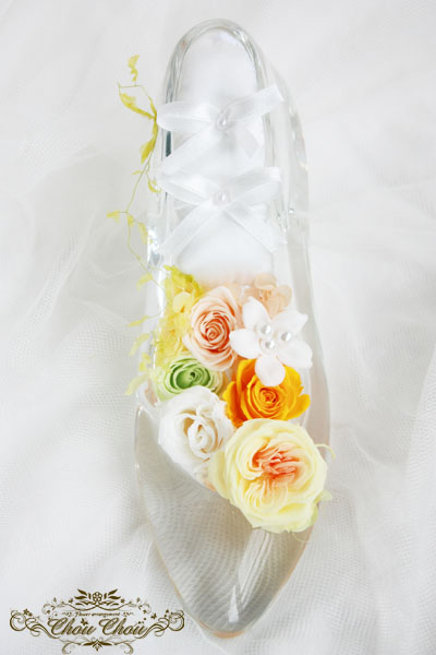 ガラスの靴 ディズニー プロポーズ ホテルオークラ 東京ベイ シンデレラ プリザーブドフラワー 販売 花屋 オーダー 舞浜