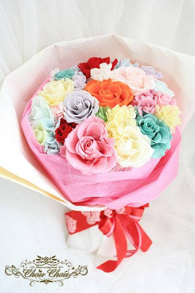 バースデープロポーズ プリザーブドフラワーのカラフルな花束 order no 181201