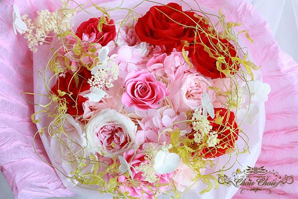 プロポーズのフラワーリングを忍ばせたプリザーブドフラワーの花束 order no 201738