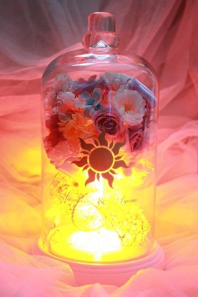 ディズニープロポーズ ラプンツェル ランタン LED ガラスドーム 紋章 プリザーブドフラワー オーダーフラワー 販売 chouchou