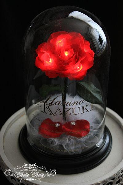 プロポーズ 光る一輪のバラのガラスドーム アレンジ  order no 181207