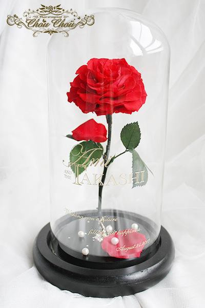 結婚祝い 一輪の薔薇のガラスドーム アレンジ(リングピロー付き)order no 2017106