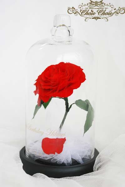 誕生日 プレゼント 美女と野獣 一輪の薔薇 ガラスドーム プリザーブドフラワー 販売 オーダーフラワー 刻印