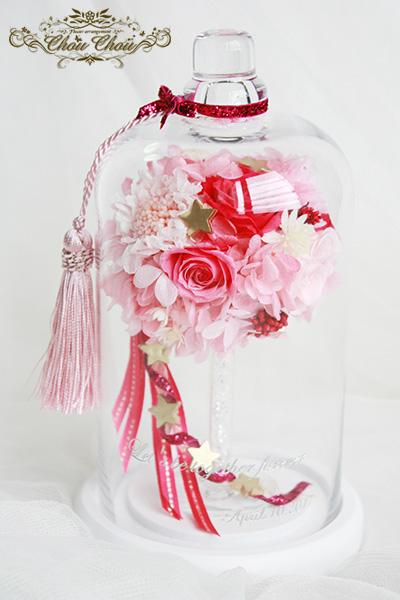 プロポーズオーダー ガラスドーム アレンジとカサブランカ&薔薇の花束 order no 201728