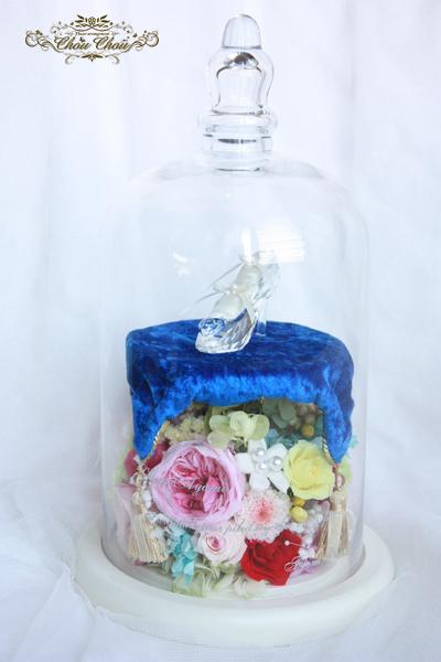 プロポーズ  ディズニーランド ガラスの靴 スワロフスキー ガラスドーム プリザーブドフラワー