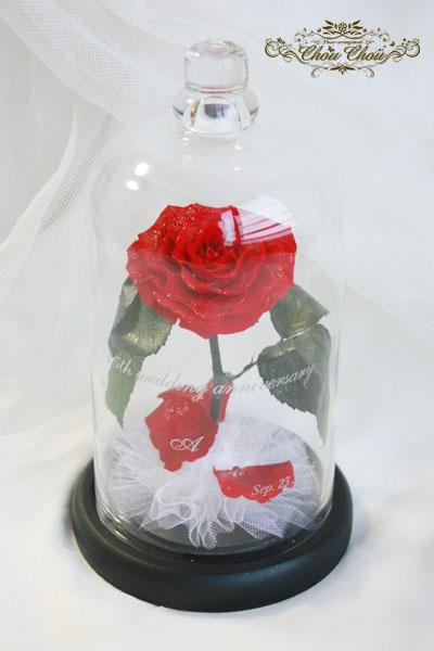 美女と野獣 一輪の薔薇 ガラスドーム ミラコスタ ディズニーシー サプライズ プレゼント 結婚記念日