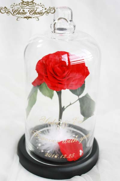 美女と野獣 一輪の薔薇 ガラスドーム ゴールド 刻印 ファー スワロフスキー オーダーフラワー プリザーブドフラワー
