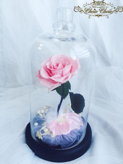 プロポーズ 美女と野獣 一輪の薔薇 ディズニーランドホテル ガラスドーム ピンクの薔薇 リングピロー 花屋 ChouChou 舞浜