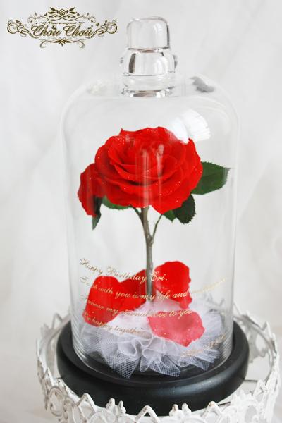 ディズニー プロポーズ 美女と野獣 薔薇 ガラスドーム 販売 ミラコスタ プリザーブドフラワー