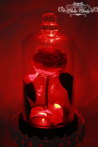 美女と野獣 一輪の薔薇 ガラスドーム サプライズプレゼント 光る薔薇 ハウステンボス 花屋 ChouChou