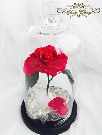 美女と野獣 1輪のバラ ガラスドーム ディズニー プロポーズ プリザーブドフラワー 販売